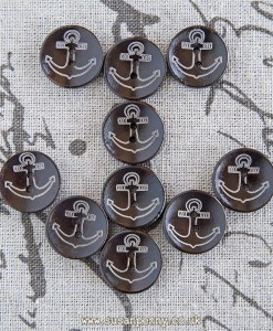 10 dark wood anchor buttons