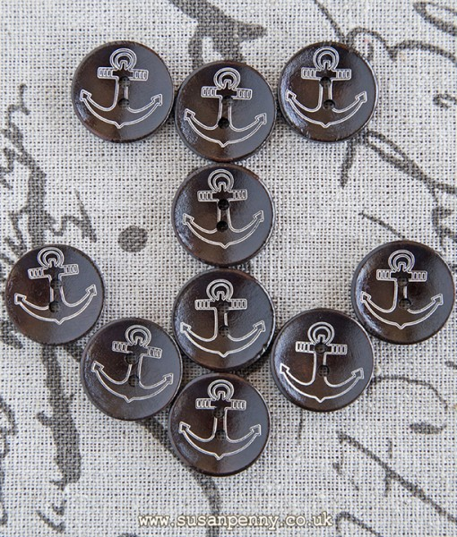 10 dark wood anchor buttons