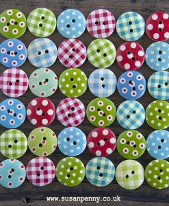 Round Wooden Craft Buttons - Spotty Dotty Mix