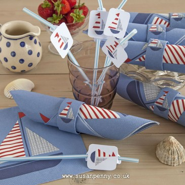 Sailboat Straw Toppers and Napkin Rings