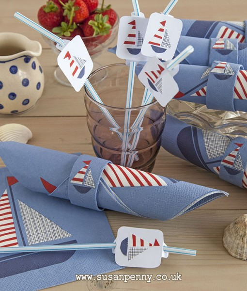 Sailboat napkins and straw toppers