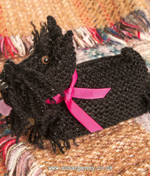 This Scottie Dog is easy to make, knitted in black double knitting wool he is just 16cm long. He has a felt tongue and toy safety eyes and is stuffed with child friendly toy stuffing, making his a lovely playmate for a child. Full instructions when you download the easy to follow pattern.