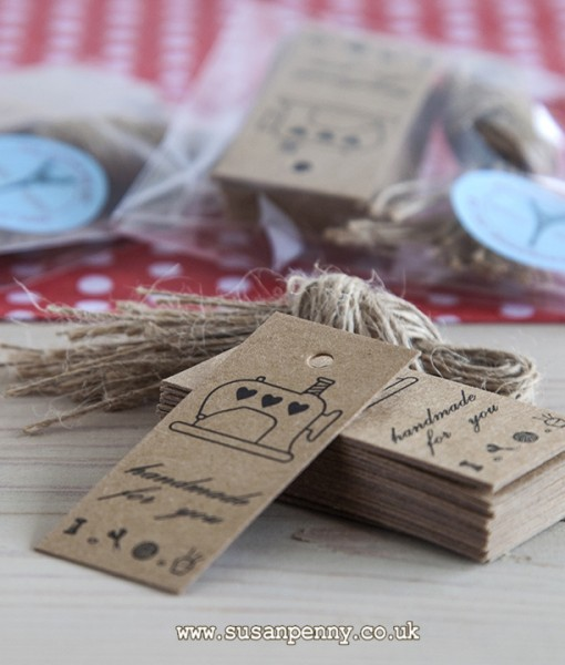 20 Thick Brown Kraft Card Swing/Gift Tags printed with Handmade For You