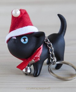 Black cat in Santa Hat